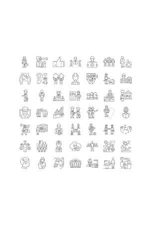 Hard business line icons, signs, symbols vector, linear illustration set Иллюстрация