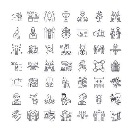 Management concept line icons, signs, symbols vector, linear illustration set