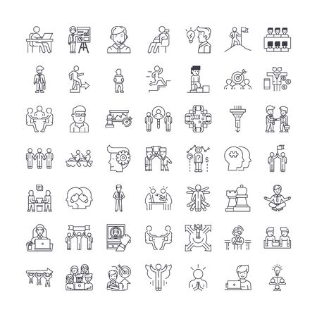 Management proccess line icons, signs, symbols vector, linear illustration set