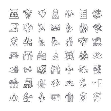 Management line icons, signs, symbols vector, linear illustration set