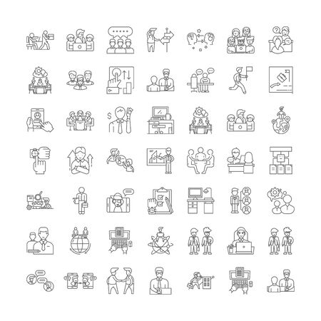 Manager line icons, signs, symbols vector, linear illustration set