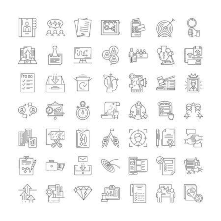 Marketing operations line icons, signs, symbols vector, linear illustration set Иллюстрация