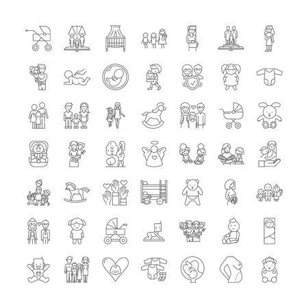 Motherhood line icons, signs, symbols vector, linear illustration set