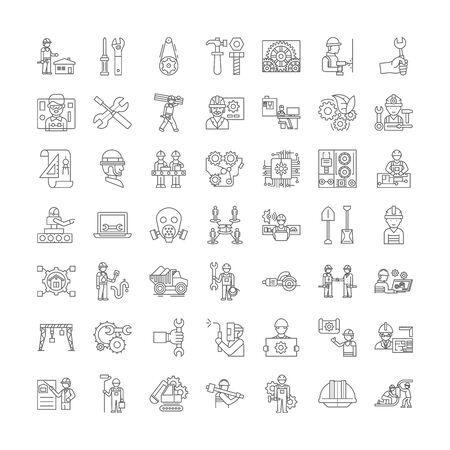Mechanics line icons, signs, symbols vector, linear illustration set