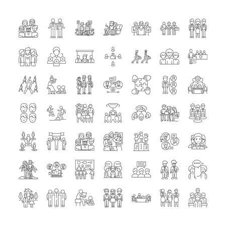 Fellowship line icons, signs, symbols vector, linear illustration set  イラスト・ベクター素材