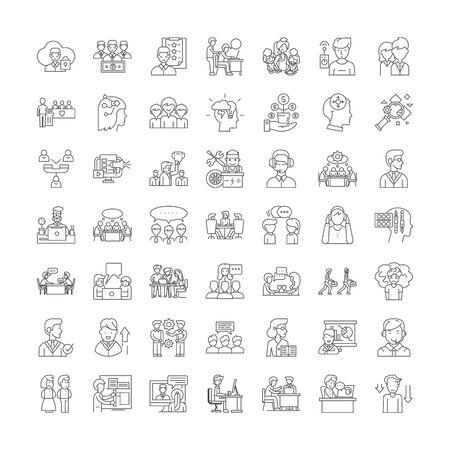 Mindset line icons, signs, symbols vector, linear illustration set  イラスト・ベクター素材