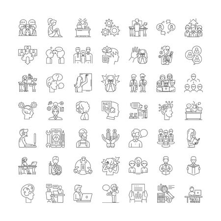 Human mindset line icons, signs, symbols vector, linear illustration set  イラスト・ベクター素材