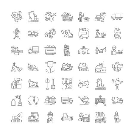 Mining line icons, signs, symbols vector, linear illustration set