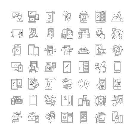 Mobile development line icons, signs, symbols vector, linear illustration set