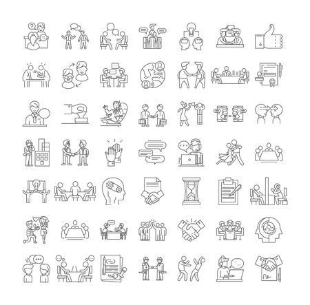 Negotation line icons, signs, symbols vector, linear illustration set Çizim