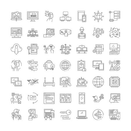 Network technologies line icons, signs, symbols vector, linear illustration set 向量圖像