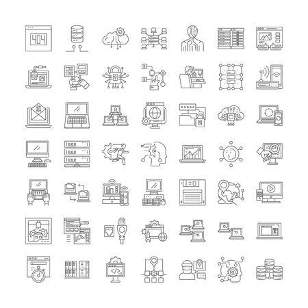 Network system line icons, signs, symbols vector, linear illustration set Illustration