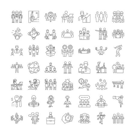 Managers line icons, signs, symbols vector, linear illustration set