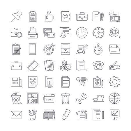 Office set line icons, signs, symbols vector, linear illustration set
