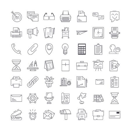 Office elements line icons, signs, symbols vector, linear illustration set