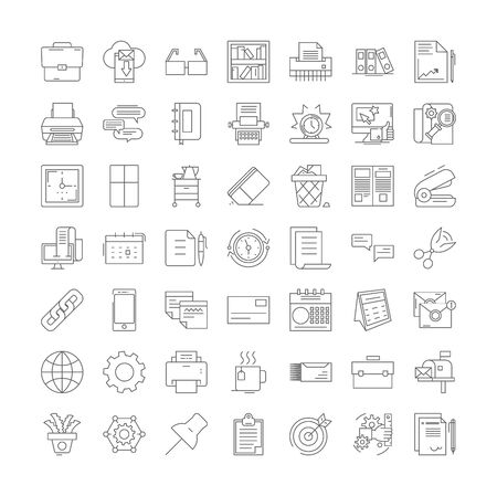 Office supplies line icons, signs, symbols vector, linear illustration set