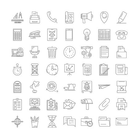 Office workspace line icons, signs, symbols vector, linear illustration set