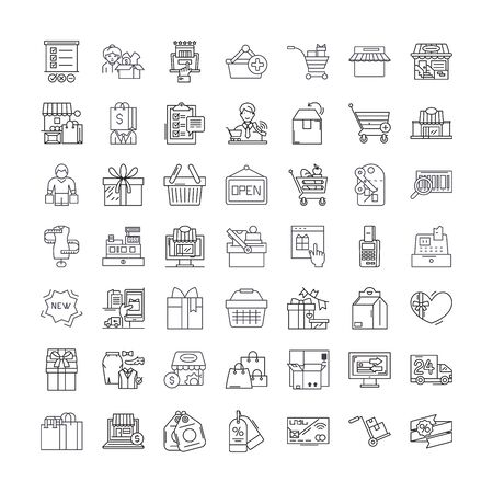 Web shopping line icone, segni, simboli vettore, illustrazione lineare set