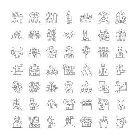 Konsortium-Liniensymbole, Zeichen, Symbolvektor, linearer Illustrationssatz Vektorgrafik