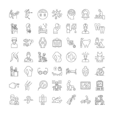 Patient in hospital line icons, signs, symbols vector, linear illustration set
