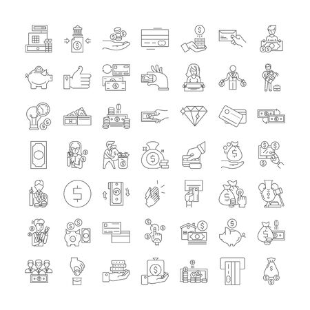 Payment proccess line icons, signs, symbols vector, linear illustration set 向量圖像