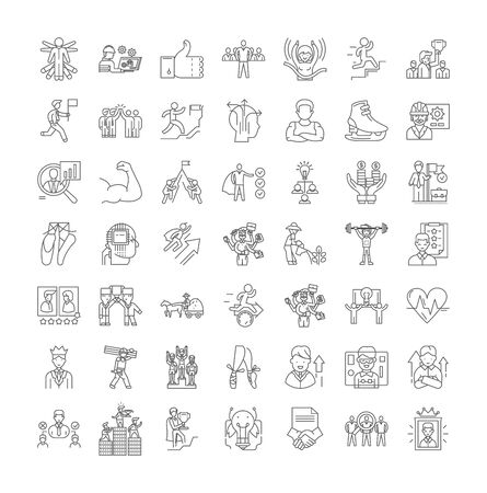 Perfomance line icons, signs, symbols vector, linear illustration set