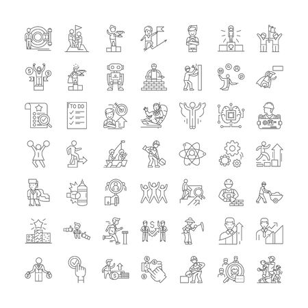 Perfomance management line icons, signs, symbols vector, linear illustration set