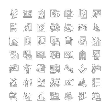 Planning line icons, signs, symbols vector, linear illustration set