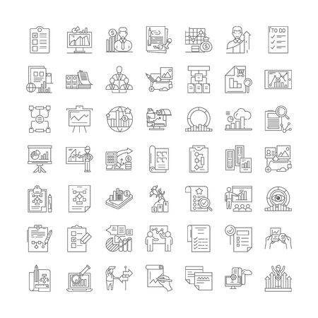 Planning proccess line icons, signs, symbols vector, linear illustration set 向量圖像