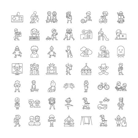 Kids playing games line icons, signs, symbols vector, linear illustration set Ilustracja