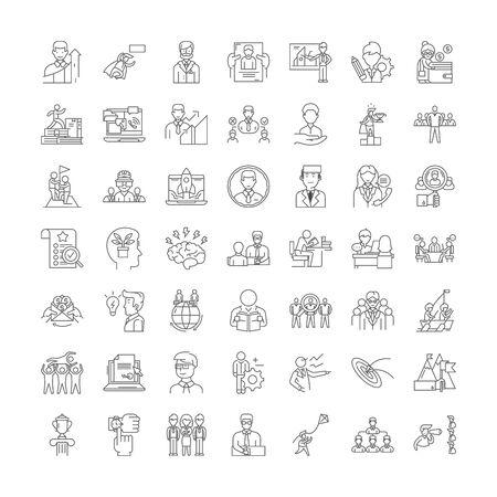 Icônes de ligne politique et gouvernementale, signes, vecteur de symboles, ensemble d'illustrations linéaires