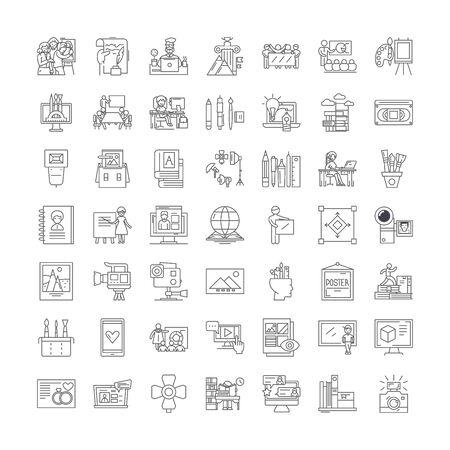 Portfolio and promotion line icons, signs, symbols vector, linear illustration set