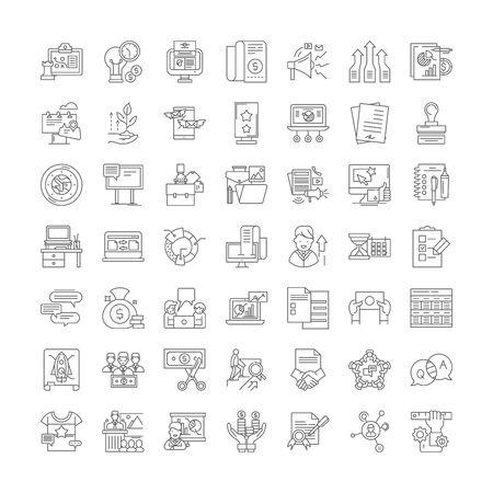 Exhibition line icons, signs, symbols vector, linear illustration set 矢量图像