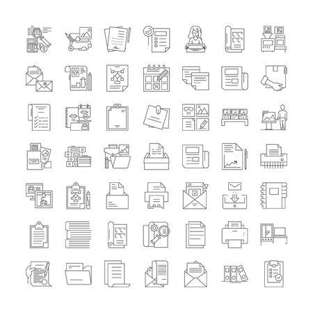 Printing line icons, signs, symbols vector, linear illustration set