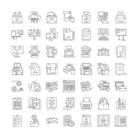 Printing proccess line icons, signs, symbols vector, linear illustration set