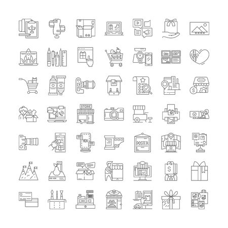 Production line icons, signs, symbols vector, linear illustration set