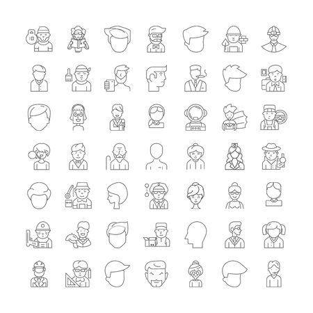 Profile line icons, signs, symbols vector, linear illustration set