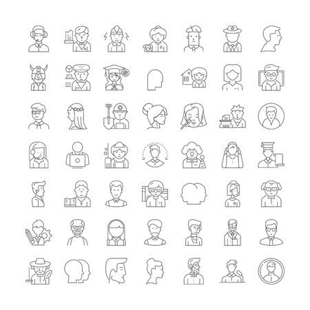 Human profiles line icons, signs, symbols vector, linear illustration set Archivio Fotografico - 134754796