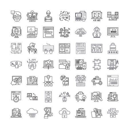 Programming, coding line icons, signs, symbols vector, linear illustration set Illustration