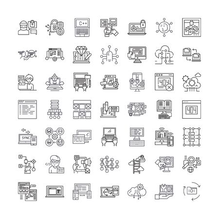 Programming and coding line icons, signs, symbols vector, linear illustration set