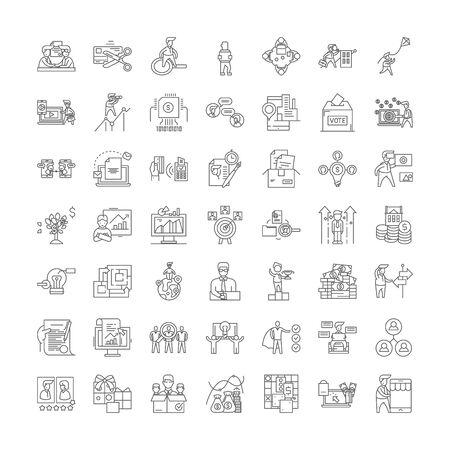 Project management line icons, signs, symbols vector, linear illustration set