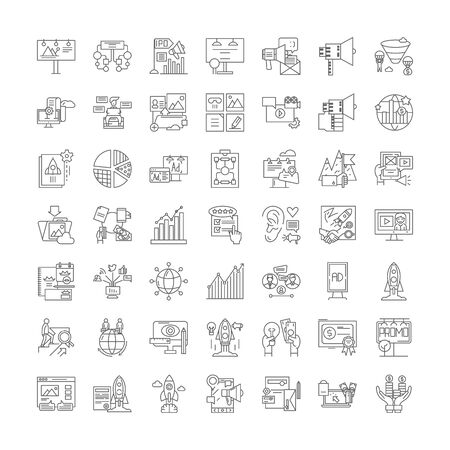 Project plan line icons, signs, symbols vector, linear illustration set