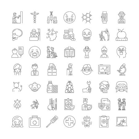 Psychiatry line icons, signs, symbols vector, linear illustration set