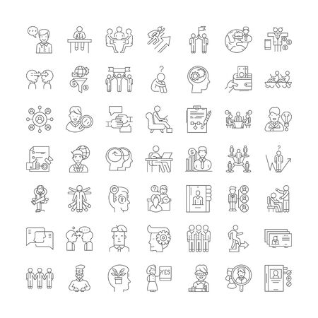 Mentality line icons, signs, symbols vector, linear illustration set