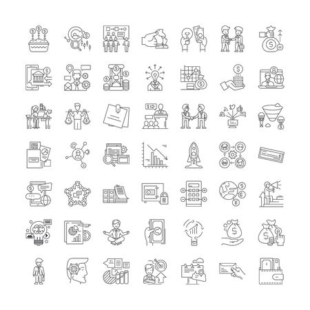 Public and government relations line icons, signs, symbols vector, linear illustration set