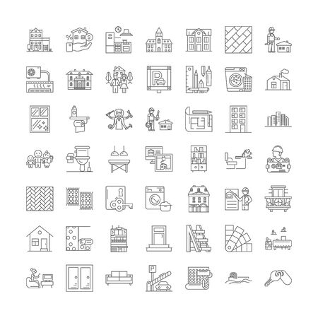 Real estate line icons, signs, symbols vector, linear illustration set
