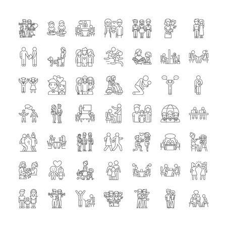 Realtionship línea iconos, signos, símbolos vectoriales, conjunto de ilustraciones lineales