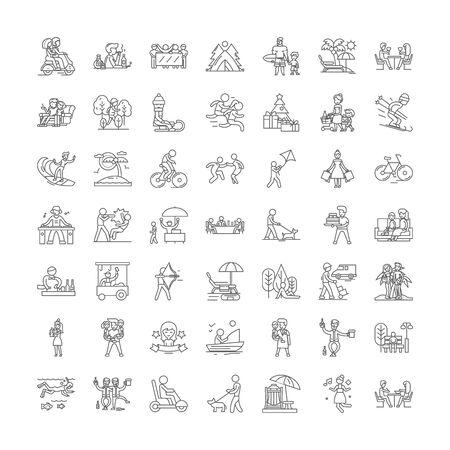 Recreation line icons, signs, symbols vector, linear illustration set Foto de archivo - 134820598