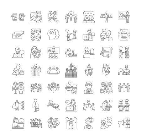 Recruitment line icons, signs, symbols vector, linear illustration set Ilustracja