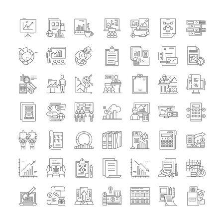 Assessment line icons, signs, symbols vector, linear illustration set